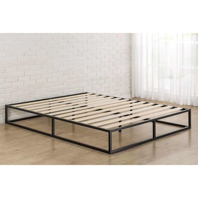 Queen Size Modern 10 Inch Low Profile Metal Platform Bed Frame With Wood Slats Metal Platform Bed Platform Bed Frame Full Metal Bed Frame