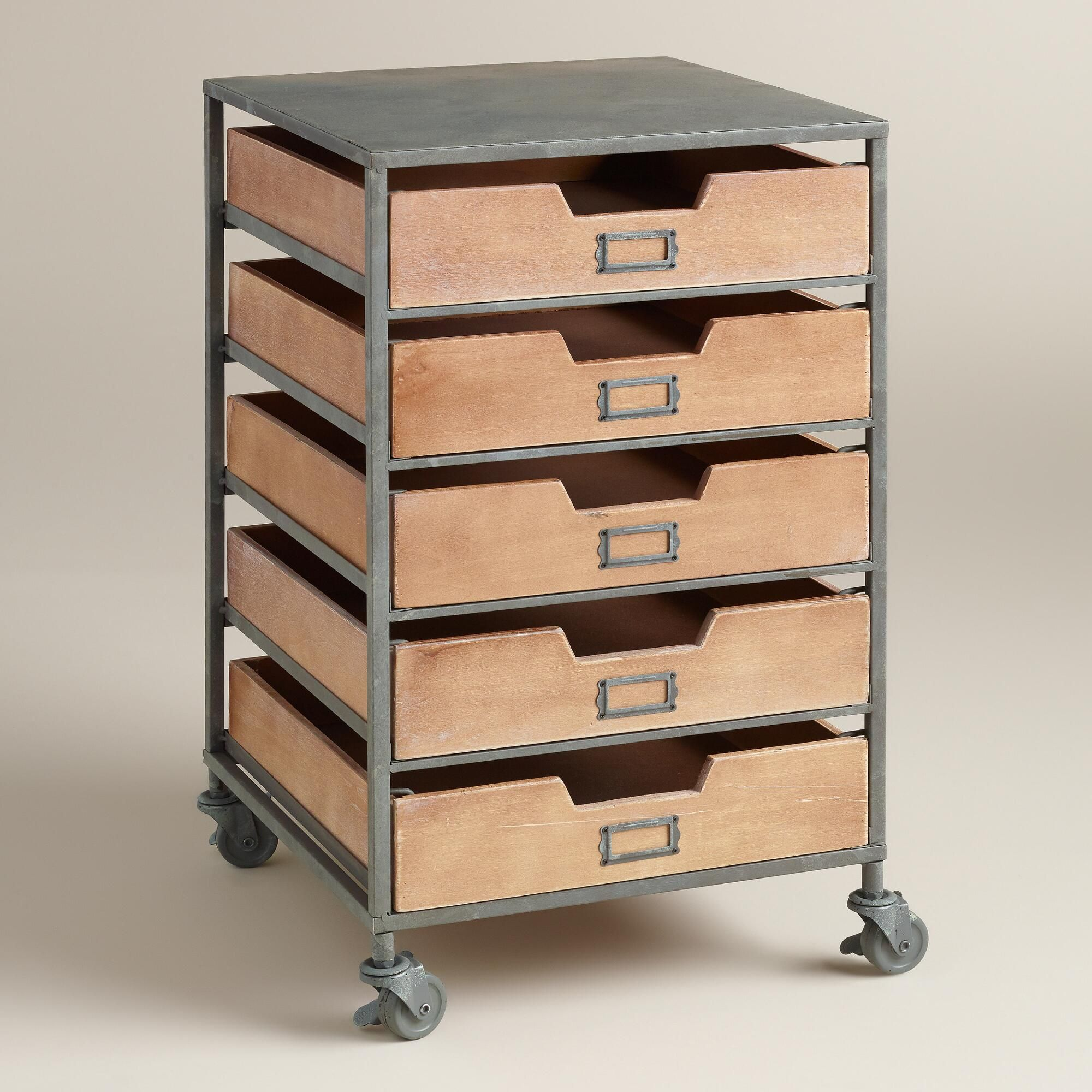 Storage Furniture Papers Office Supplies And Odds Ends All Find Their Proper Place In Our Brushed Metal Cart Furnished With Five Wooden Drawers