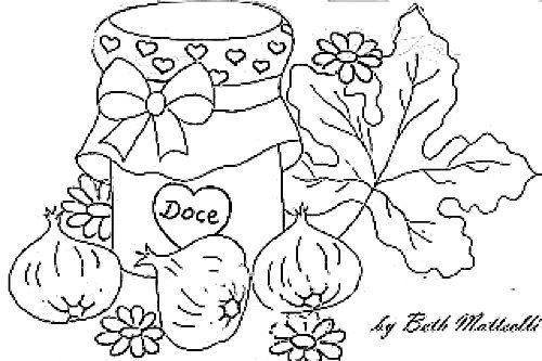 Desenho Pote De Geleia De Figos Para Pintar Com Imagens Riscos