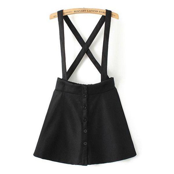 913514715f SheIn(sheinside) Black Strap Plaid Buttons Skirt ($16) ❤ liked on Polyvore  featuring skirts, mini skirts, saias, black, a line skirt, tartan skirt,  plaid ...