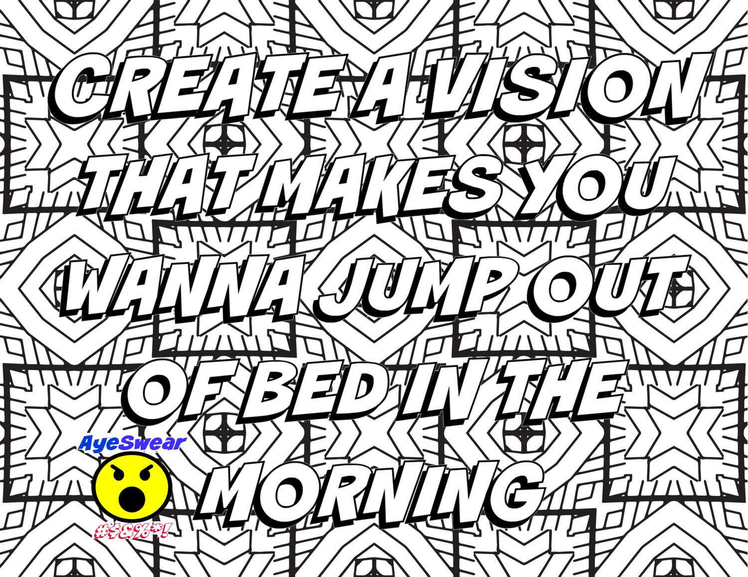 motivational coloring page create a vision that by ayeswear