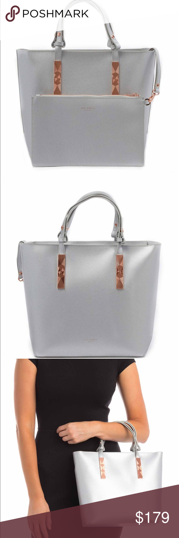 35d30fad2 Ted Baker Kaceyy Metallic Silver Shopper NWT Ted Baker Kaceyy Metallic Silver  Leather Shopper Tote Bag Purse Ted Baker Bags Totes