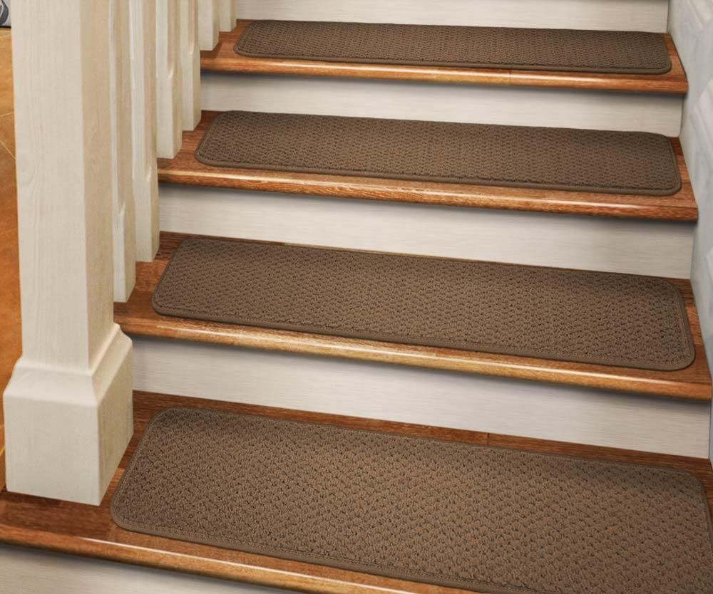 Best Set Of 15 Tape Down Carpet Stair Treads Toffee Brown 400 x 300