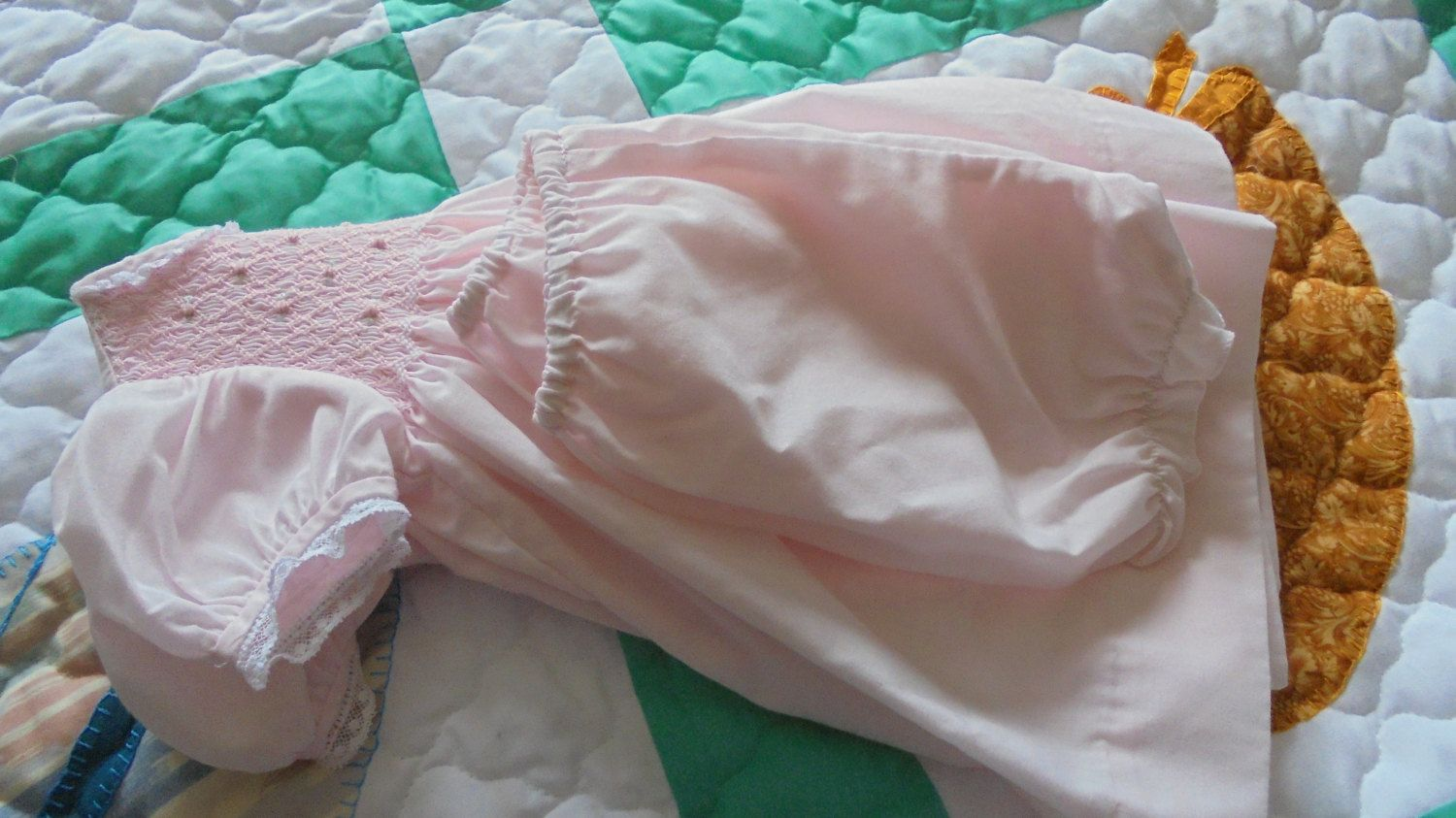 Vintage petit ann pink layette smocking baby girl dress with vintage petit ann pink layette smocking baby girl dress with bloomers size 3 mos easter gift negle Image collections
