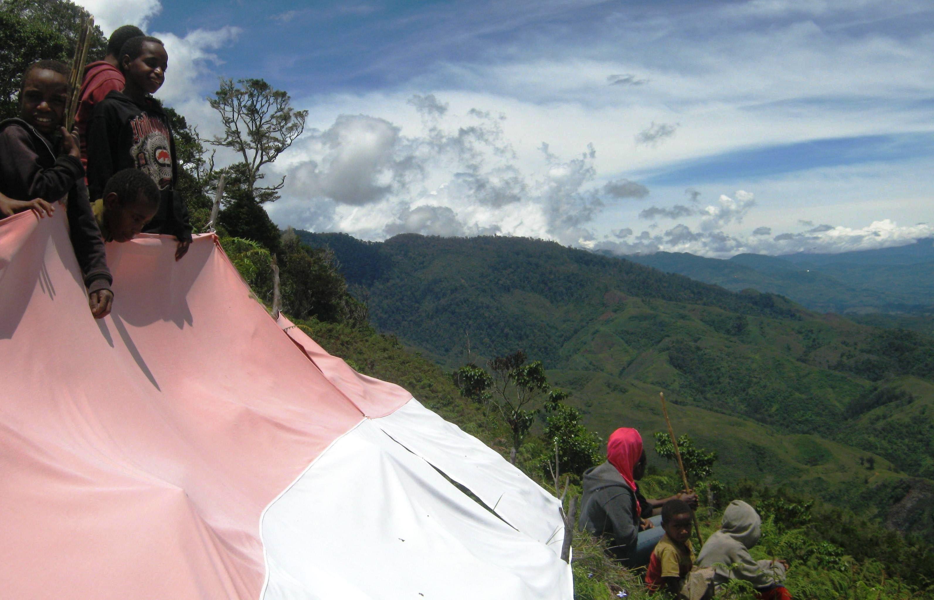 anakanak suku dani wamena mengibarkan bendera indonesia