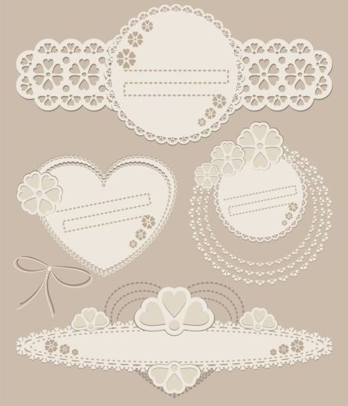 lace card with frame decor vector 01