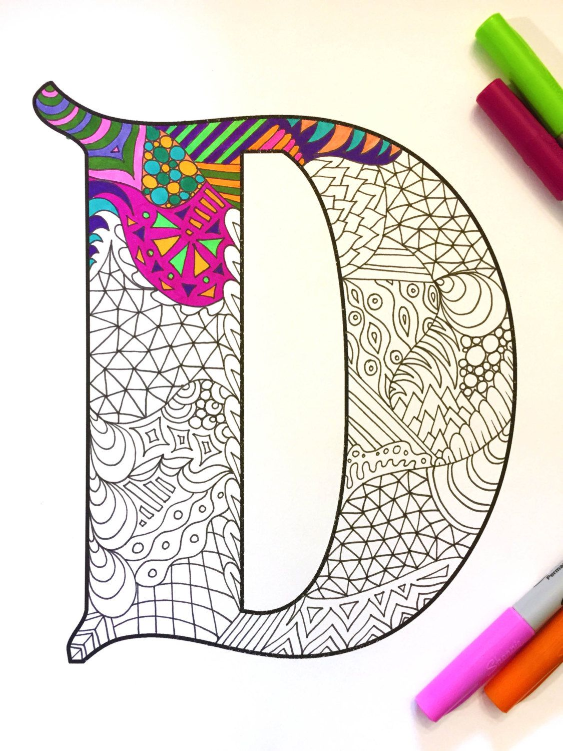 letter d zentangle inspired by the font etsy
