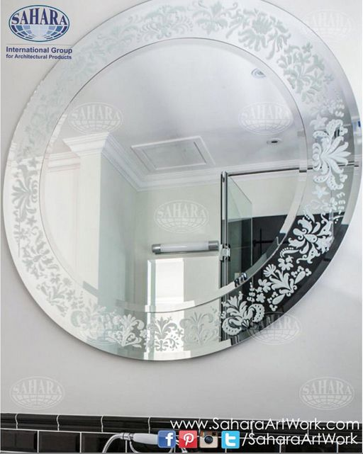 Silver Bathroom Mirror With Sandblasted Classic Design Frame Stained Glass Mirror Mirror Led Mirror
