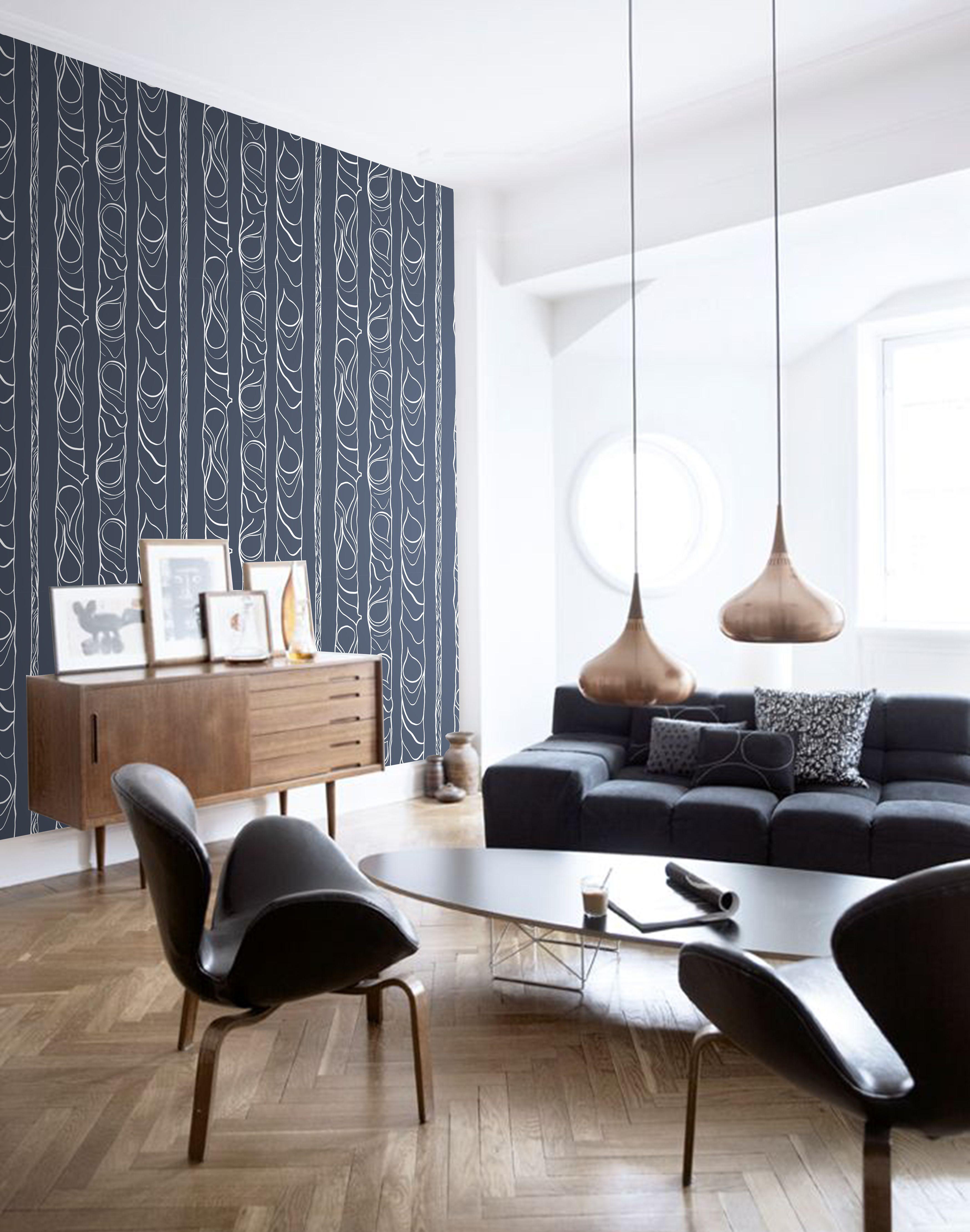 Tree Design Wallpaper Living Room: ZHIVAGO Wallpaper / Blue And White Tree Design