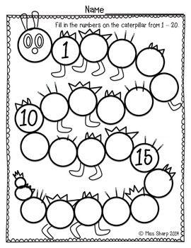 Caterpillar Count to 20 | Worksheets | Kindergarten math ...