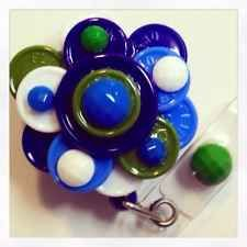 Handmade Flower Flip-Top Retractable ID Badge Reel