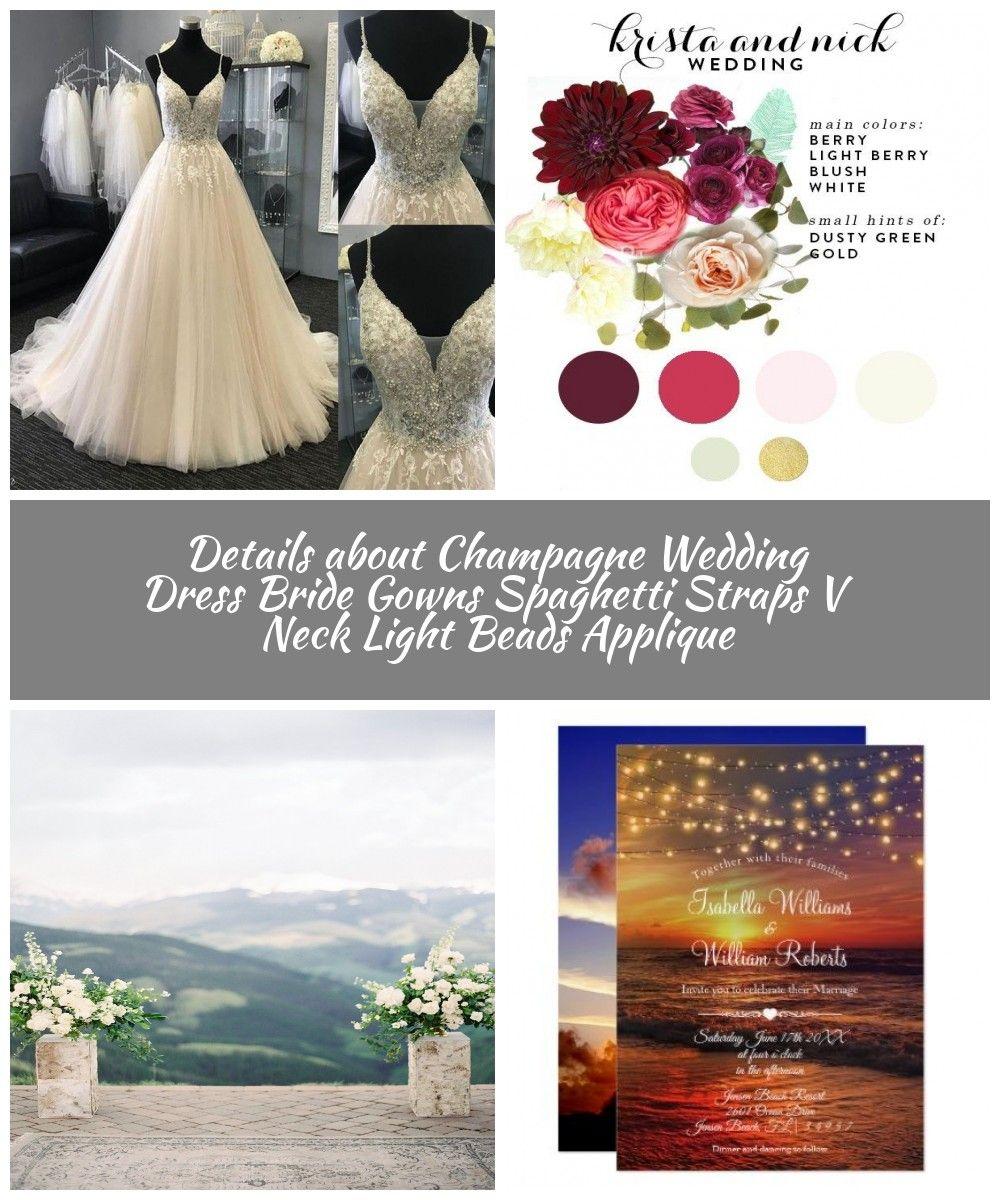 Details about Champagne Wedding Dress Bride Gowns Spaghetti Straps V Neck Light Beads Applique  #lov...