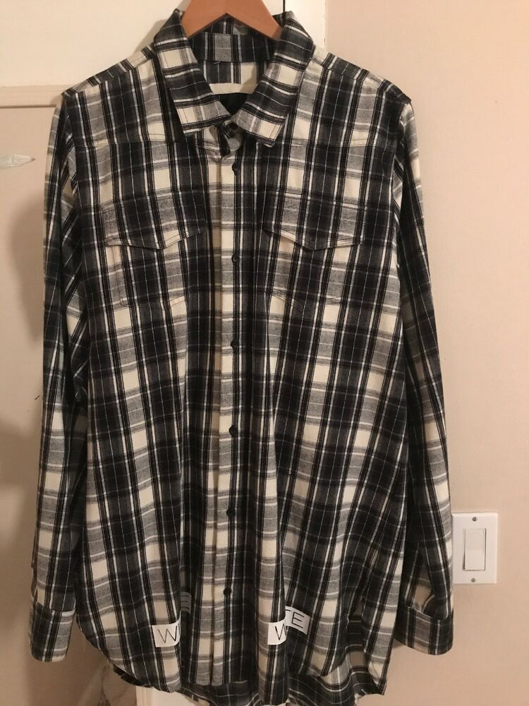 25c1af3d Off-White Long Sleeve Button Down Flannel Size M #fashion #clothing #shoes