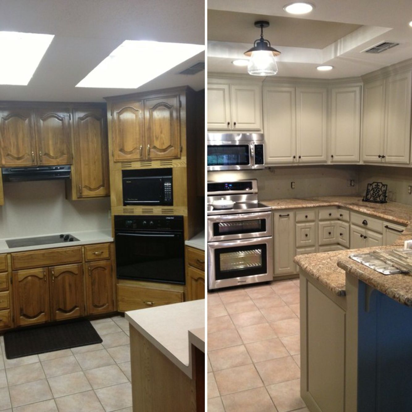 Before and after for updating drop ceiling kitchen ...