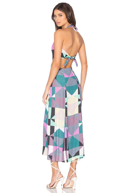 Mara hoffman tie back cut out dress in diamonds plum style