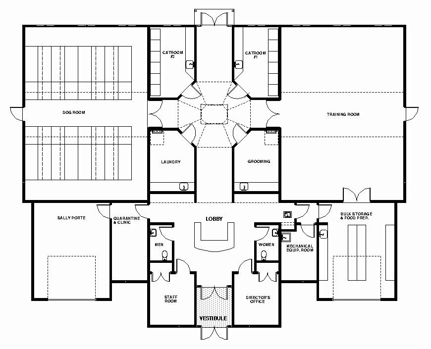Like general layout of sm facility dog care facility for Dog kennel layouts
