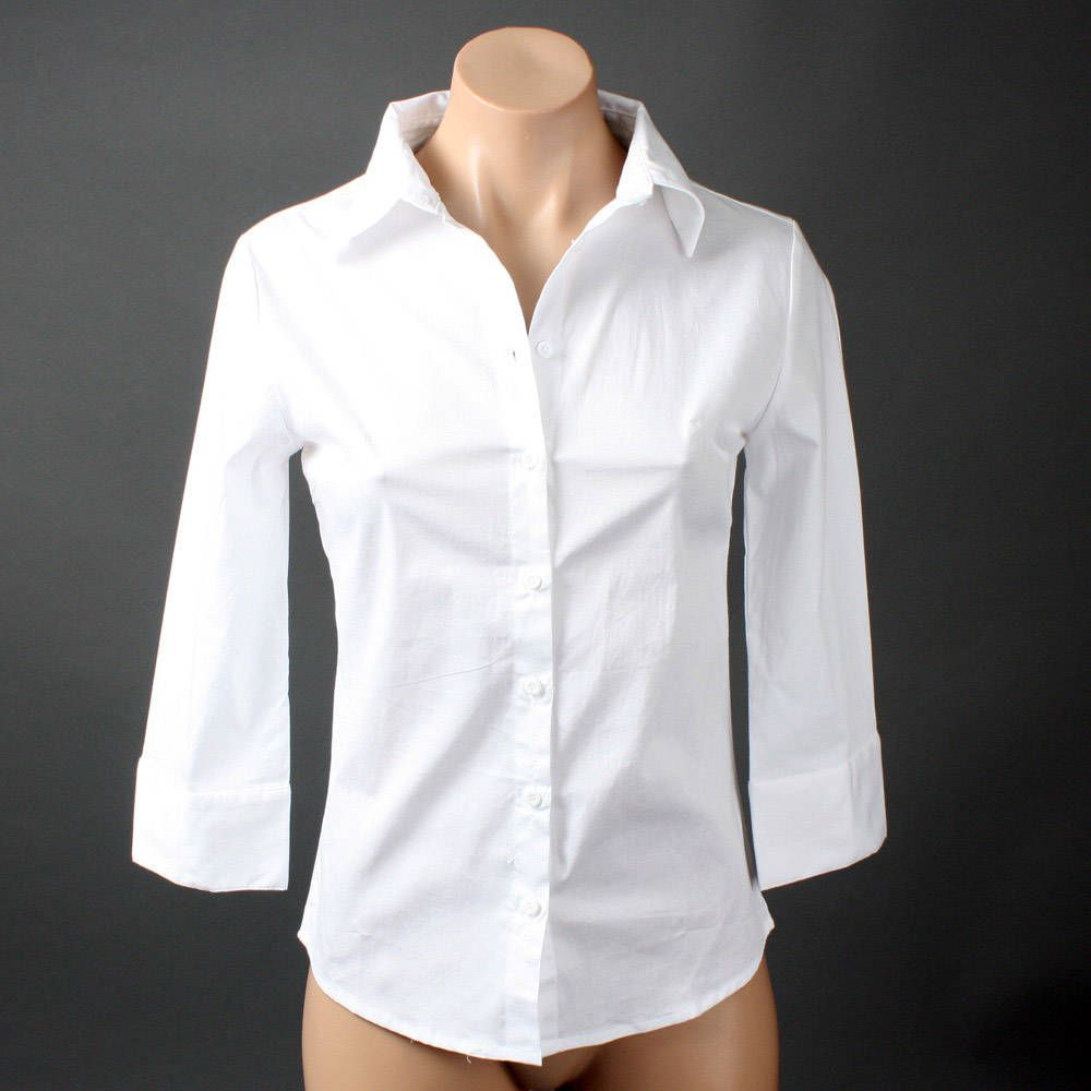 Women white oxford career office 3 4 sleeve button down for White shirt with collar pin