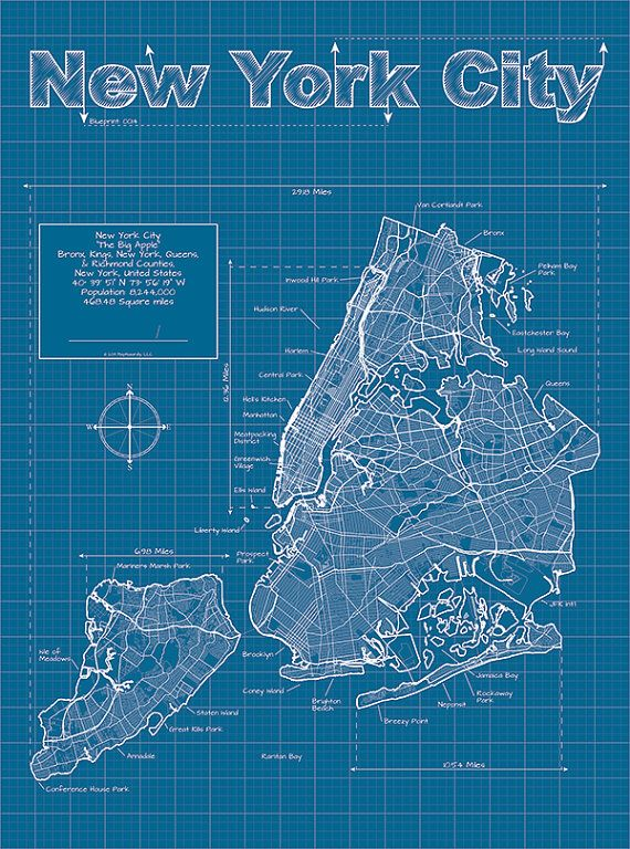 New york city map original artwork new york city blueprint new york city artistic blueprint map by maphazardly on etsy 3000 malvernweather