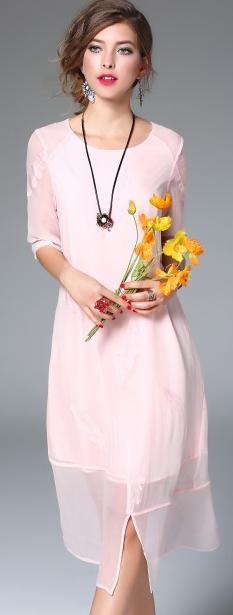 Pink Silk Half Sleeve Slit Sheer Hem A-line Midi Dress
