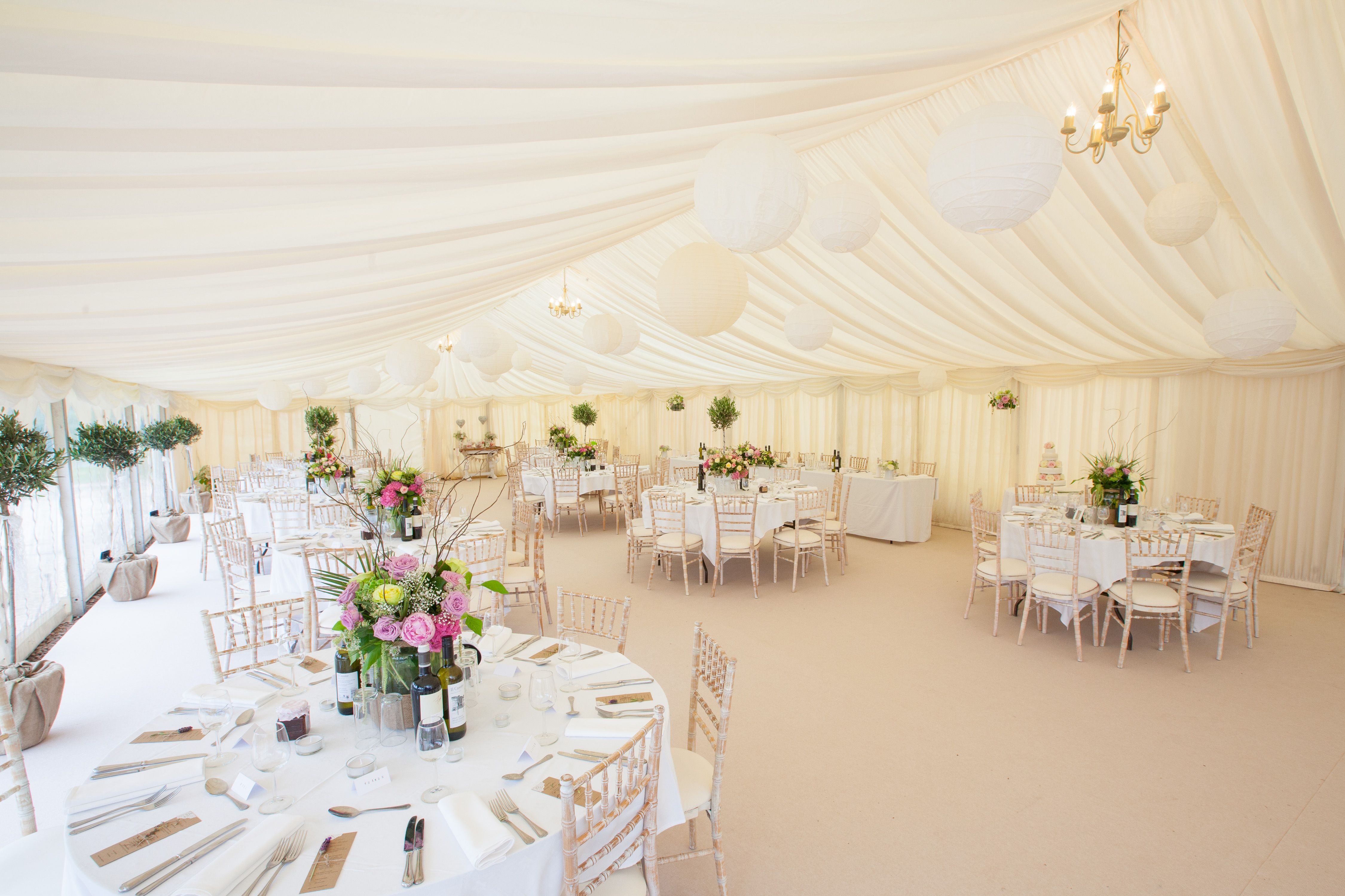 A summer wedding marquee at Bluebell Vineyard Estate in the heart of ...