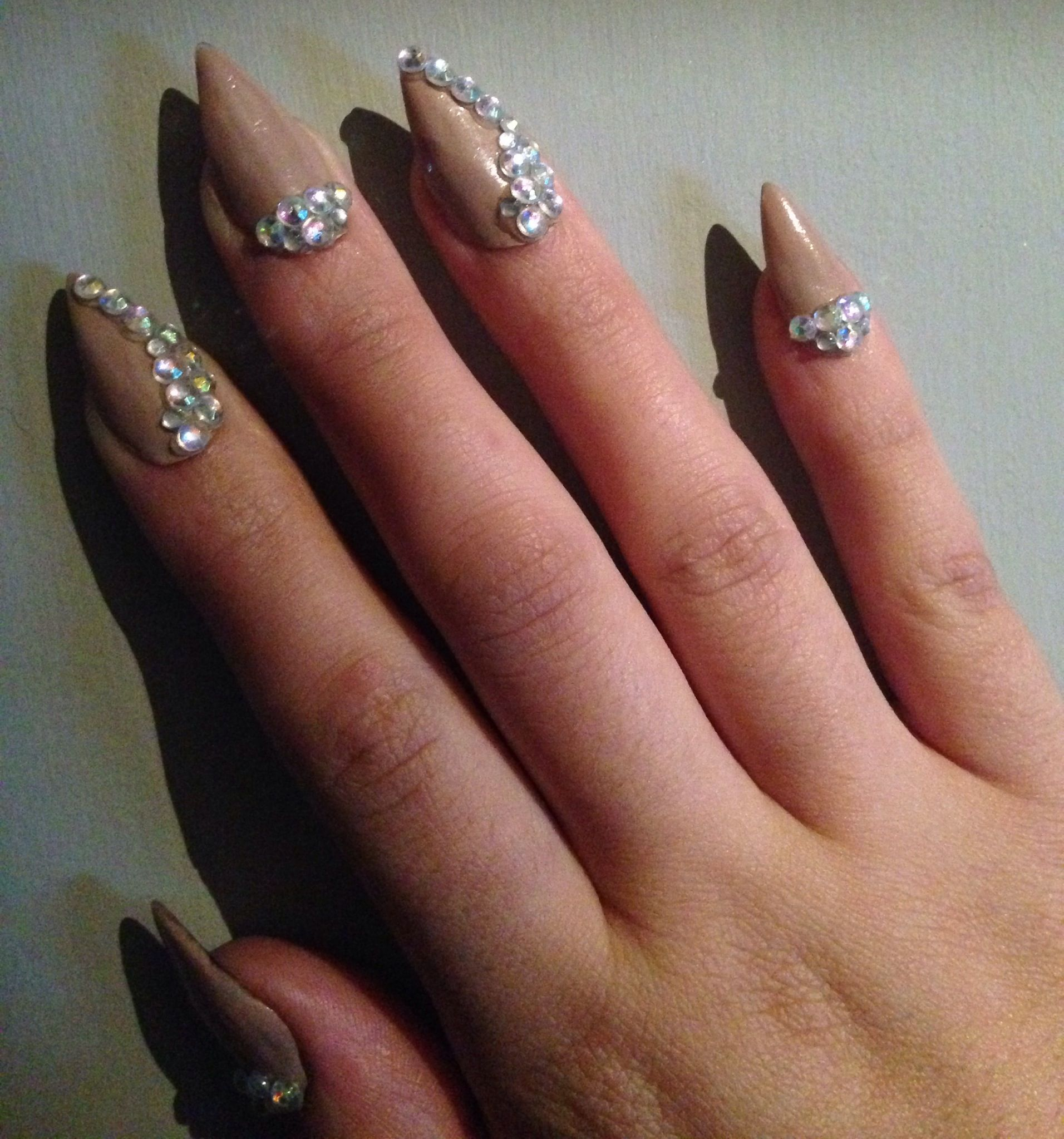 Nude rhinestones stiletto nails. | Nail designs | Pinterest | Bling ...