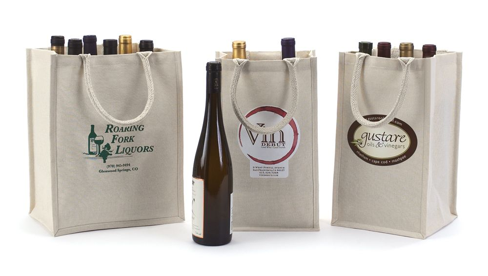 An Eco Friendly Option To Wine Or Beverage Carriers Canvas Wine Bottle Bags From Packaging Specialties Are Available In Two Four And Six Bottle Styles B Bodas