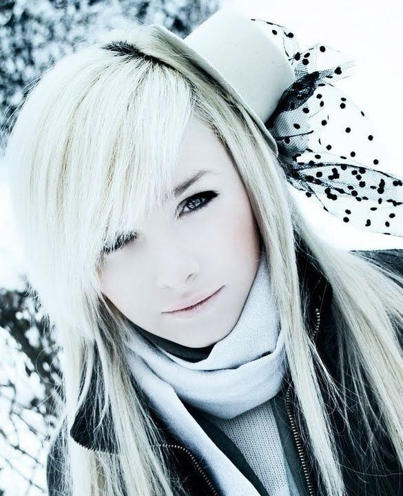 White blonde hair...cute bangs Possibility for my hur...