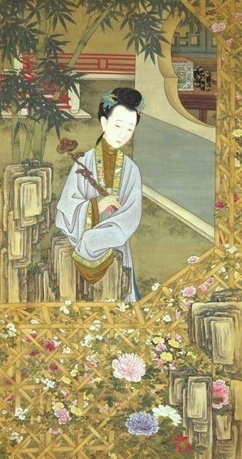 《雍亲王题书堂深居图屏》