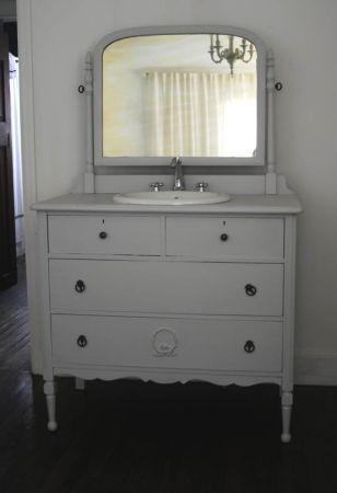 Wooden Vintage Dresser Repurposed Into Vanity Sink Upcycle Recycle - Bathroom vanities bonita springs fl