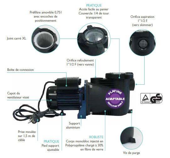 Pompe De Filtration Pour Piscine Aqualux Edg 19 M3 H Au