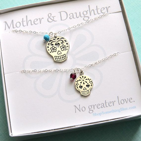 Mother and Daughter Sugar Skull & Birthstone Necklace, Calaveras Charm, Personalized, Mother's jewelry, Mother's Day Gift, Sentiment Card on Etsy, $79.00