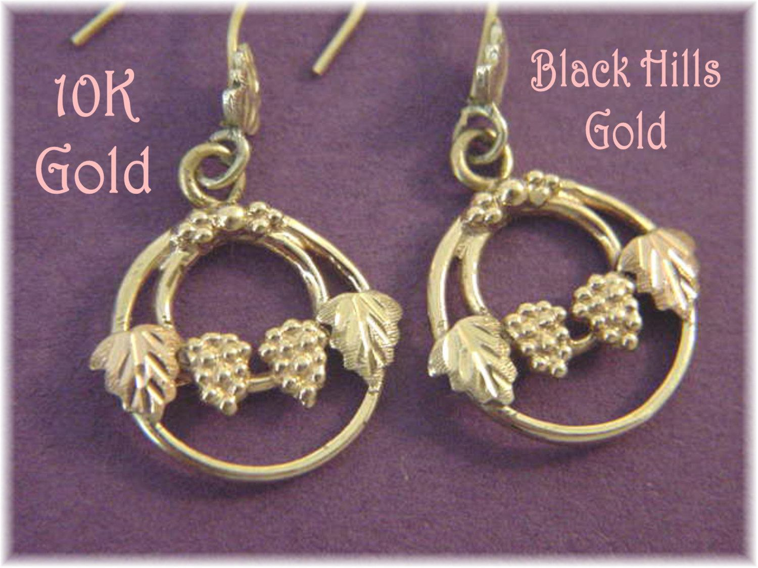 14k 10k Gold Black Hills Gold Ivy Leaf Vine Grape Cluster 1 3 8 Earrings Yellow And Black Hills Gold Jewelry Black Hills Gold Earrings Black Hills Gold
