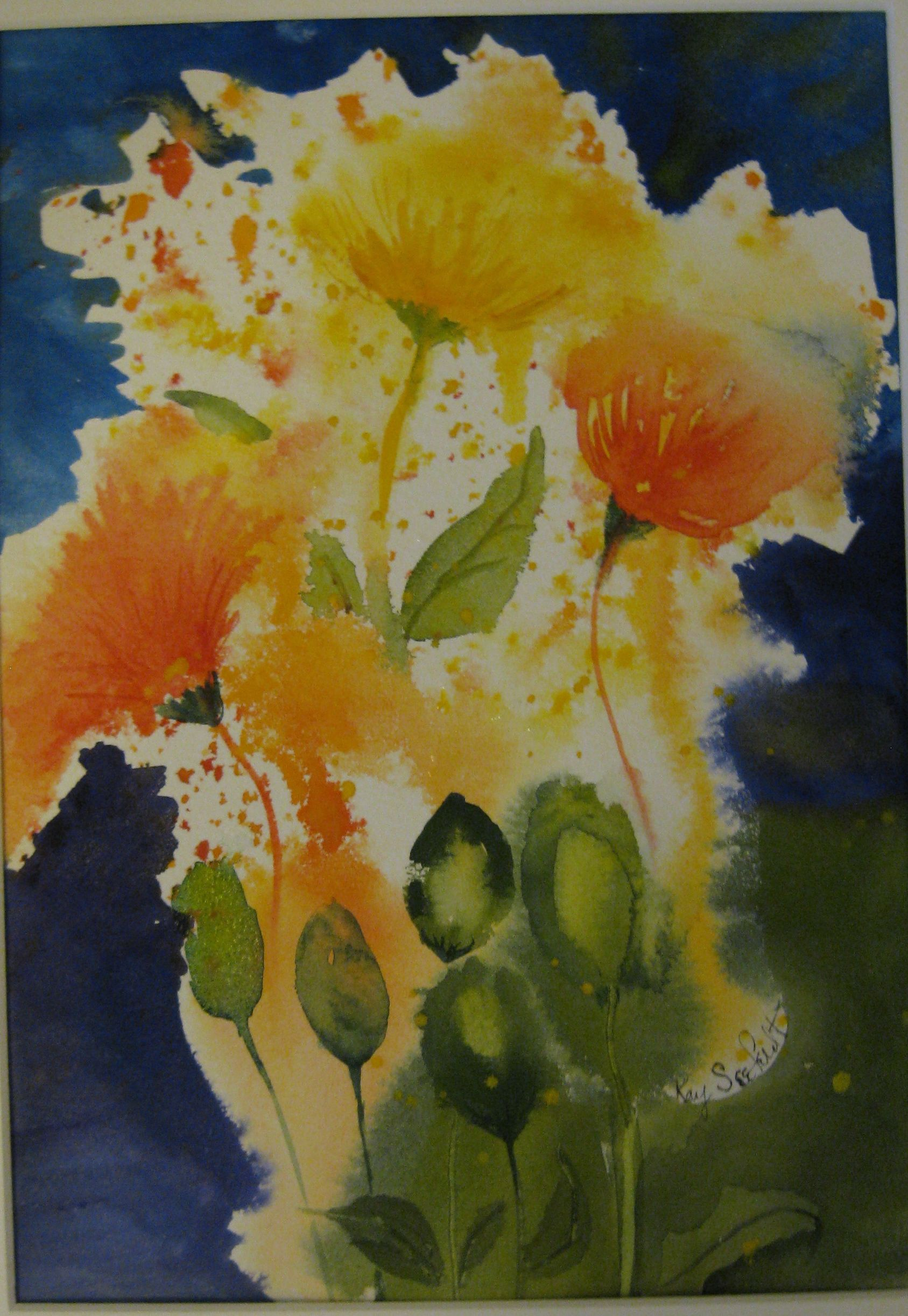 Experiment using water sprayed onto dry paper & dropping in color. (May 7/2012)