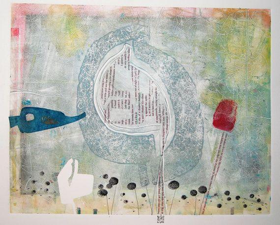 Original Fine Art Monoprint  SpringAwakening by kbmatter on Etsy