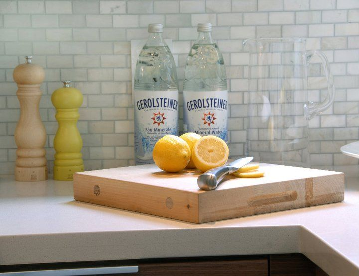 Suzie Cutler Design Construction Marble Mini Subway Tiles Backsplash White Corian