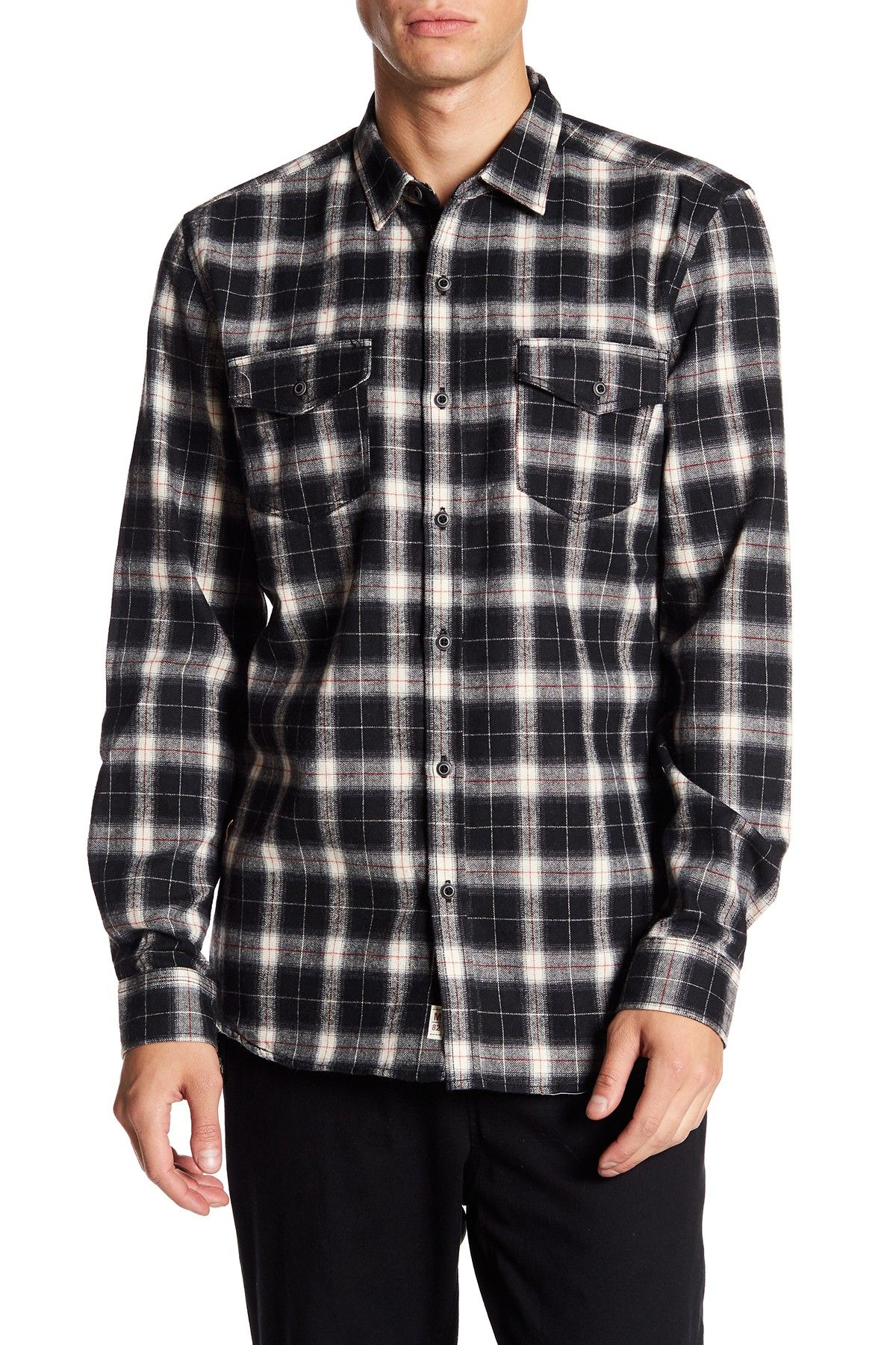 9c0c337bde Micros Over Long Sleeve Woven Flannel Plaid Regular Fit Shirt | Bun ...