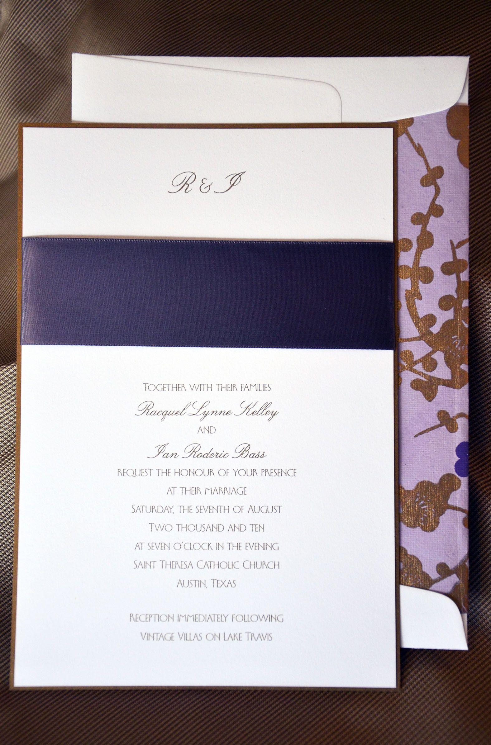 this very contemporary wedding invitation to st theresa catholic church in austin texas was - Wedding Invitations Austin Tx