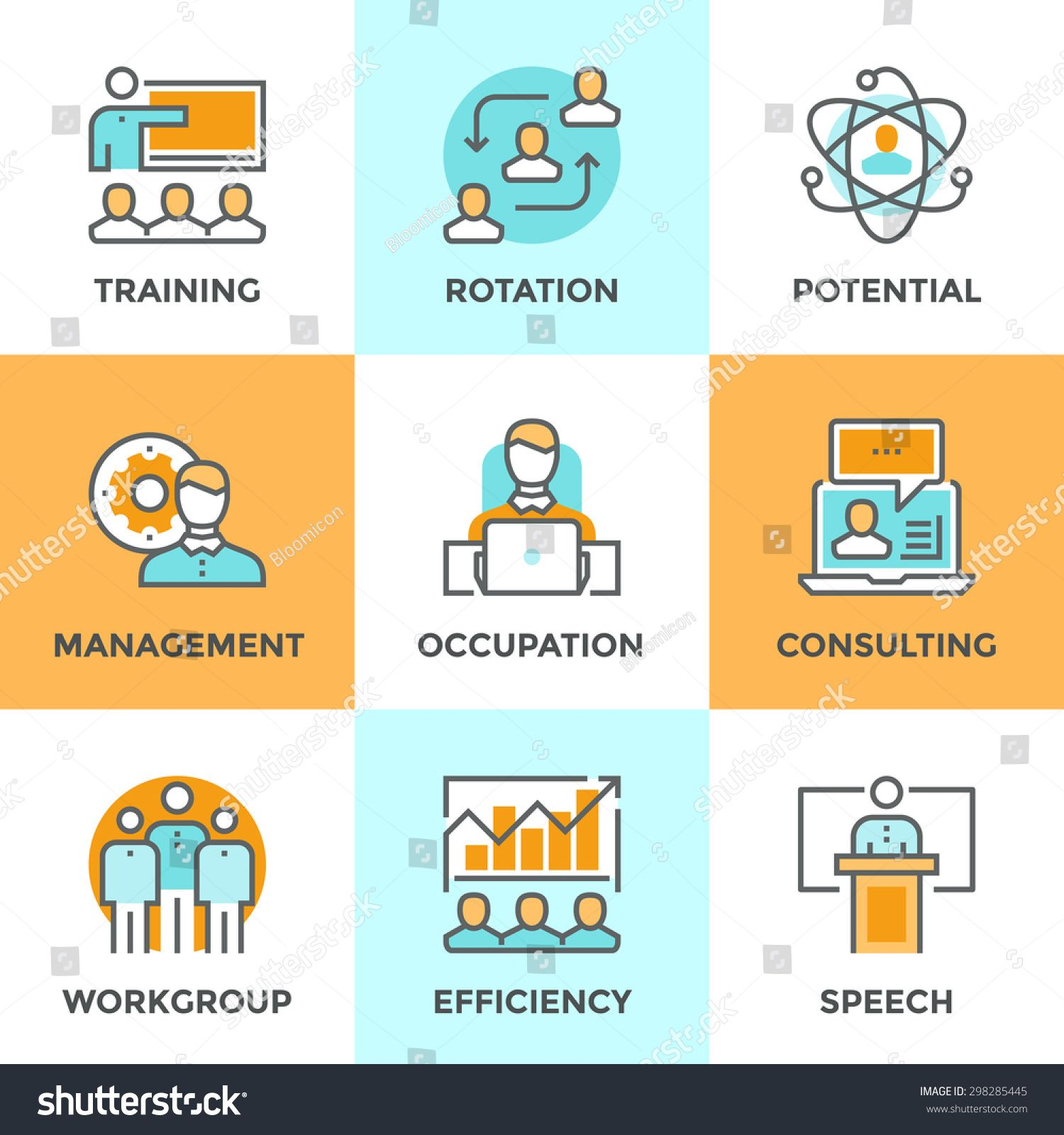 Line Icons Set With Flat Design Elements Of Corporate Management Business People Training Online Professional Team Skills Business Icon Corporate Management