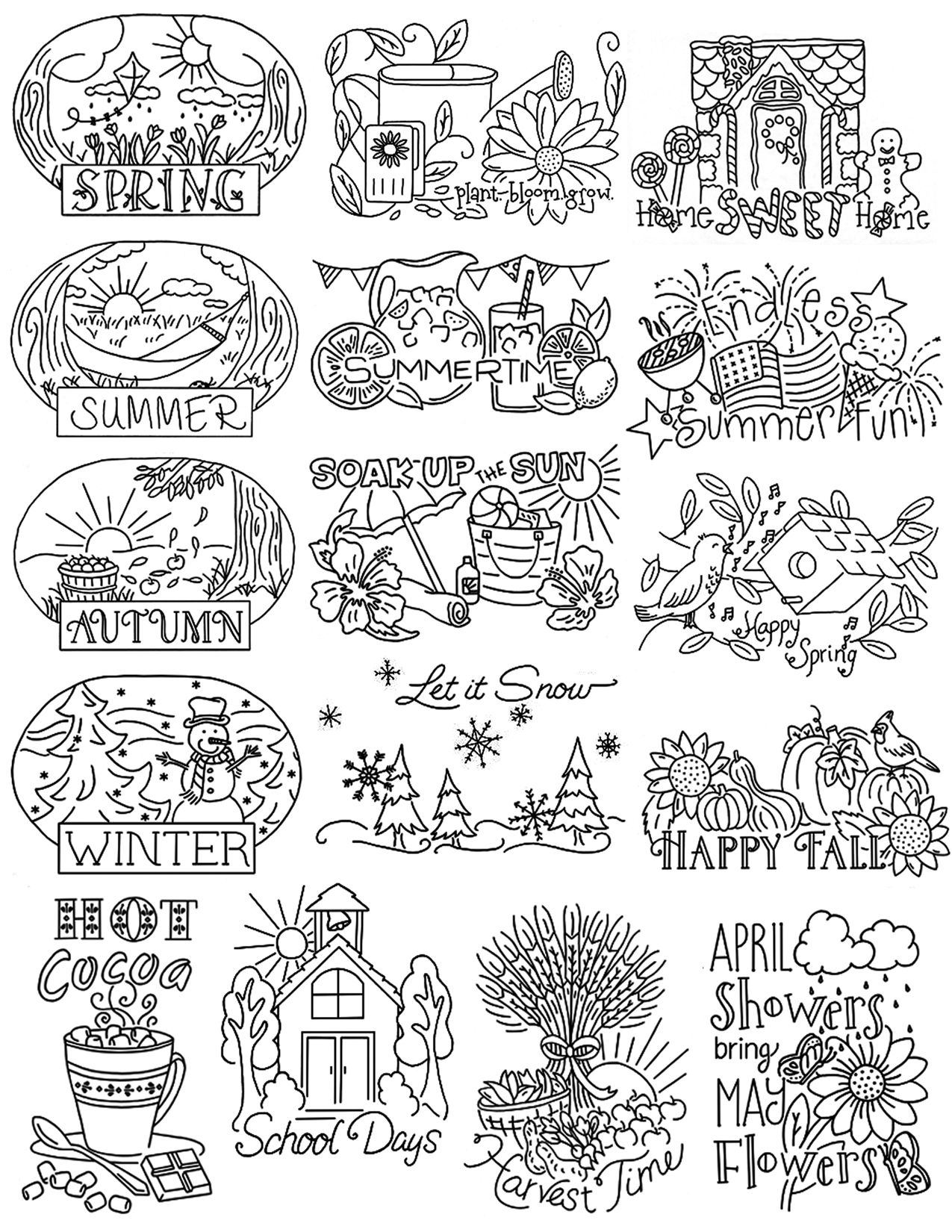 The Four Seasons - Embrodiery Pattern | 자수 | Pinterest | Dibujos ...