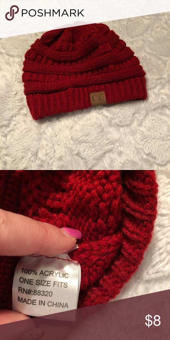 e7e233fff1677 CC beanie adult size CC beanie adult size burgundy red CC Boutique  Accessories Hats