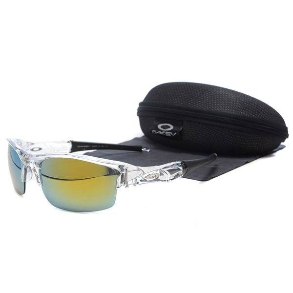 Oakley Flak Jacket Sunglasses Yellow-Blue Iridium Clear-Black Frames-43701