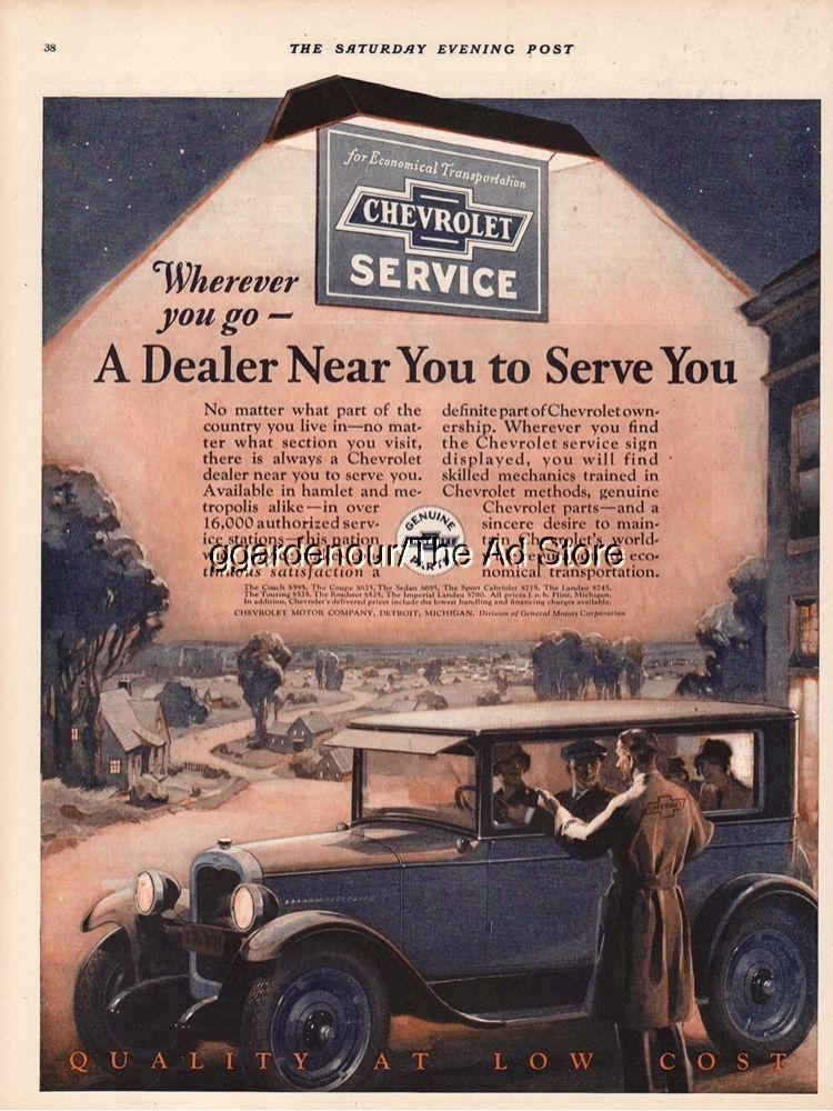 1927 Chevrolet Service Logo General Motors GM Car Dealer Art Vintage ...