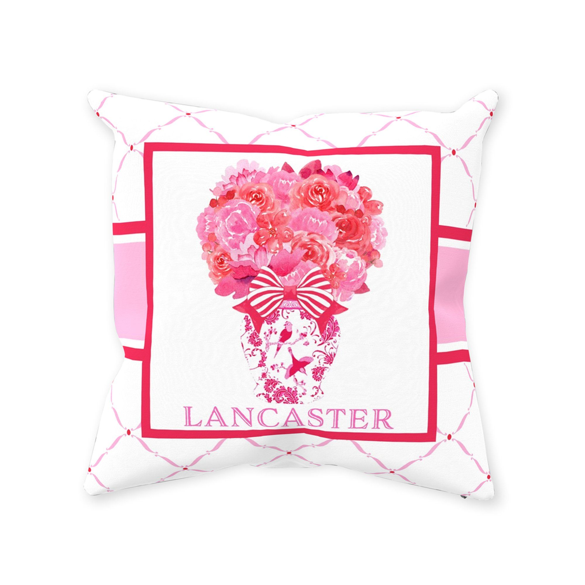 Pink and Red Bouquet Pillow - 14 x 14