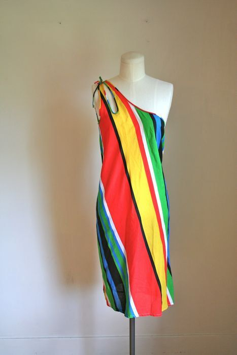 0b48f66b84a vintage 70s sundress - RAINBOW striped one shoulder dress   M ...