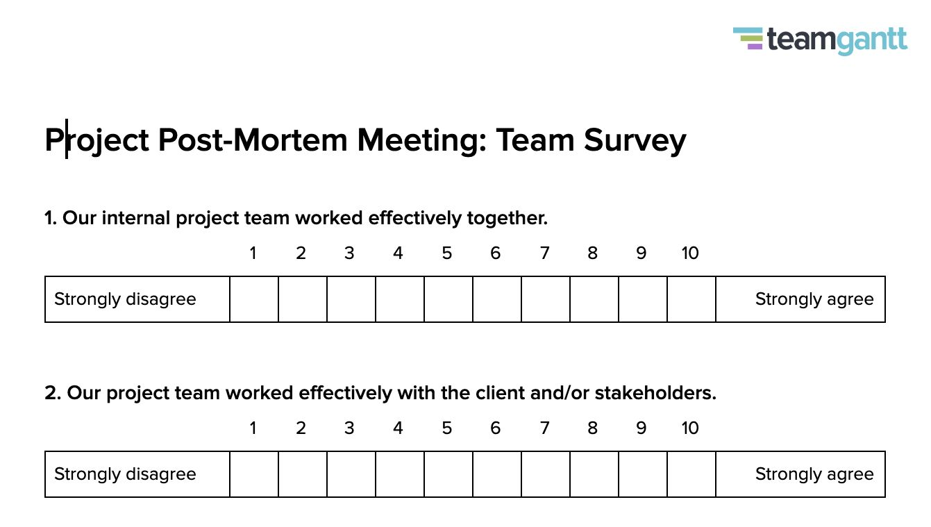 Post Mortem Meeting Template And Tips Teamgantt Intended For Post Project Report Template Best Cr Agenda Template Business Template Meeting Agenda Template Project management post mortem template