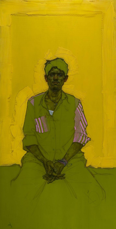 Man with Crossed Fingers - Encre et Acrylique sous Perspex - 120 x 240 cm H Craig Hanna