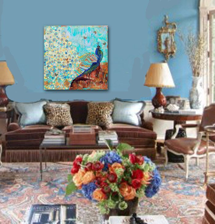 blue oversized peacock painting turquoise decor huge art 3x3