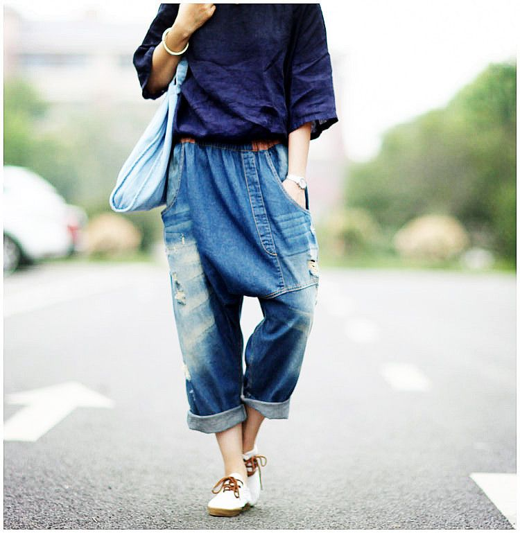 07640f15b55d9 Fashion New Plus size Boyfriend Jeans Women Wide Leg Jeans Harem Pants  Capris Trousers