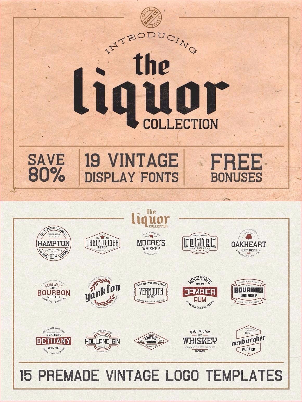 The Liquor Font Collection Logo Design Inspiration Vintage Vintage Logo Design Vintage Logo