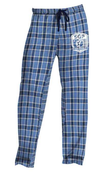 3ea237b8f9 Hanes lounge pants with elastic waistband. Blue plaid pants. SoccerGrlProbs  crest logo.